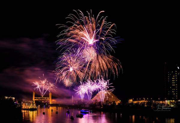 Photograph - Sacramento Fireworks Composite 2 by Jim Thompson