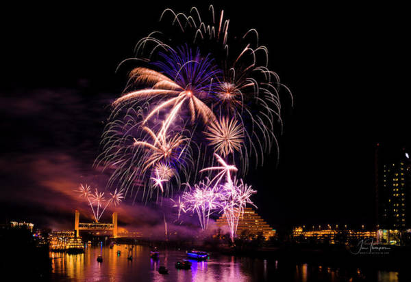 Photograph - Sacramento Fireworks Composite 3 by Jim Thompson