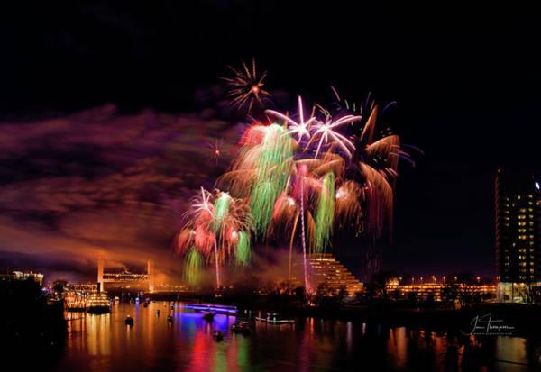 Photograph - Sacramento Fireworks Composite 4 by Jim Thompson