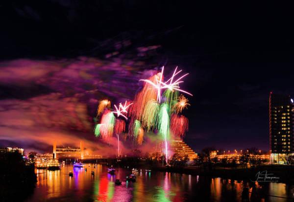 Photograph - Sacramento Fireworks Composite 6 by Jim Thompson