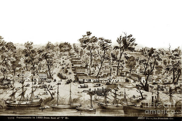 Photograph - Sacramento In 1850 From The Foot Of I Street by California Views Archives Mr Pat Hathaway Archives