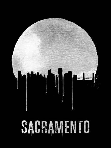 Wall Art - Painting - Sacramento Skyline Black by Naxart Studio