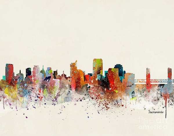 Sacramento Painting - Sacramento Skyline by Bri Buckley