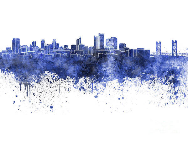 Sacramento Painting - Sacramento Skyline In Blue Watercolor On White Background by Pablo Romero