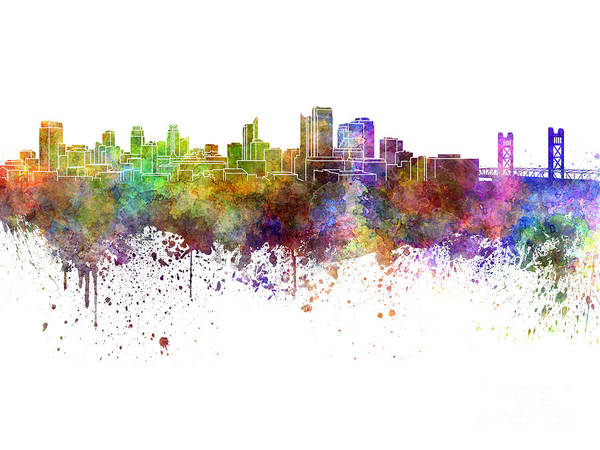 Sacramento Painting - Sacramento Skyline In Watercolor On White Background by Pablo Romero