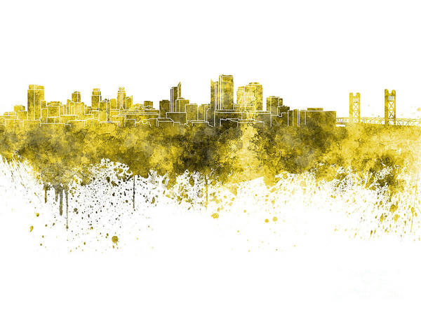 Sacramento Painting - Sacramento Skyline In Yellow Watercolor On White Background by Pablo Romero