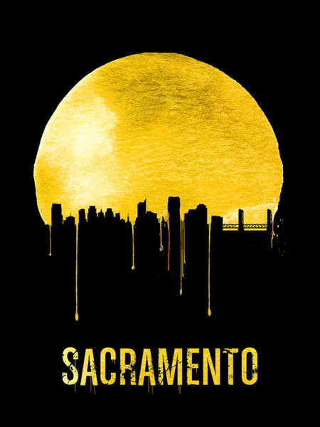 Wall Art - Painting - Sacramento Skyline Yellow by Naxart Studio