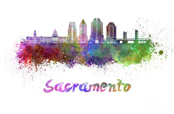 Sacramento Painting - Sacramento V2 Skyline In Watercolor by Pablo Romero