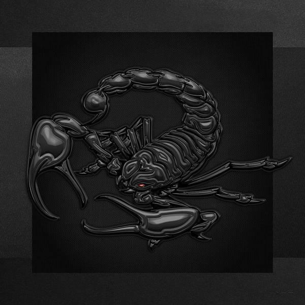 Digital Art - Sacred Black Scorpion On Black Canvas by Serge Averbukh