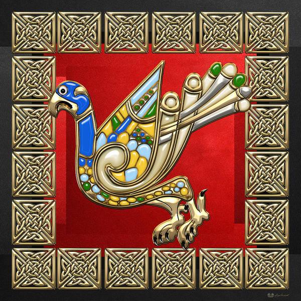 Digital Art - Sacred Celtic Eagle On Red And Black  by Serge Averbukh