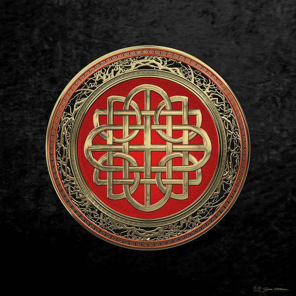 Digital Art - Sacred Celtic Gold Knot Cross Over Black Velvet by Serge Averbukh