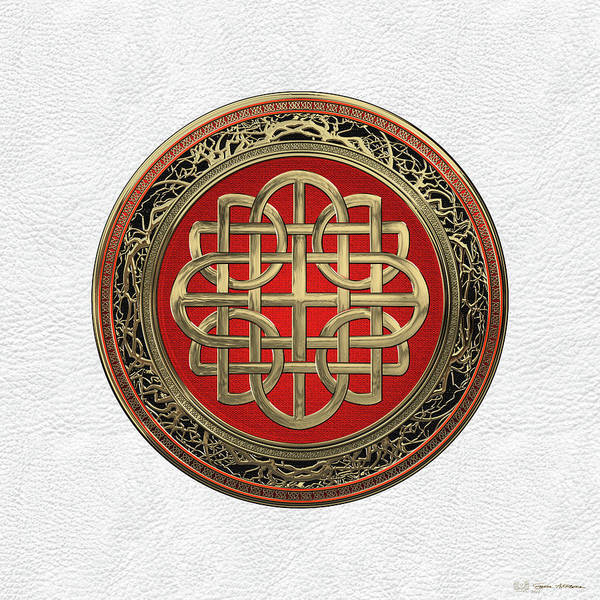 Digital Art - Sacred Celtic Gold Knot Cross Over White Leather by Serge Averbukh