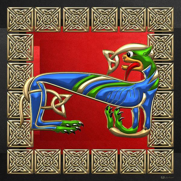 Digital Art - Sacred Celtic Lioness On Red And Black by Serge Averbukh