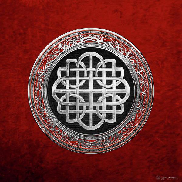 Digital Art - Sacred Celtic Silver Knot Cross Over Red Velvet by Serge Averbukh