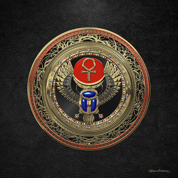 Digital Art - Sacred Egyptian Winged Scarab With Ankh In Gold And Gems Over Black Leather  by Serge Averbukh