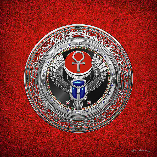 Digital Art - Sacred Egyptian Winged Scarab With Ankh In Silver And Gems Over Red Leather  by Serge Averbukh