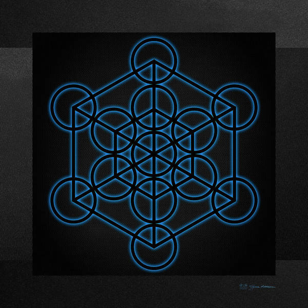 Digital Art - Sacred Geometry - Black Hexahedron Cube With Blue Halo Over Black Canvas by Serge Averbukh