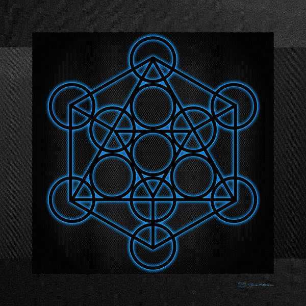 Digital Art - Sacred Geometry - Black Icosahedron With Blue Halo Over Black Canvas by Serge Averbukh