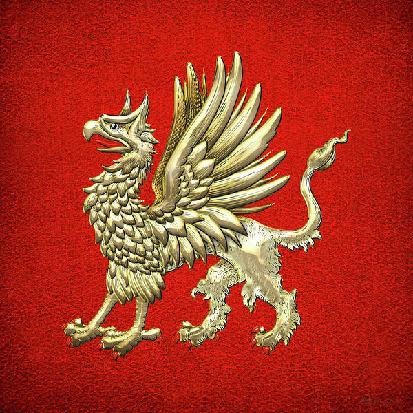 Amulet Digital Art - Sacred Golden Griffin On Red Leather by Serge Averbukh