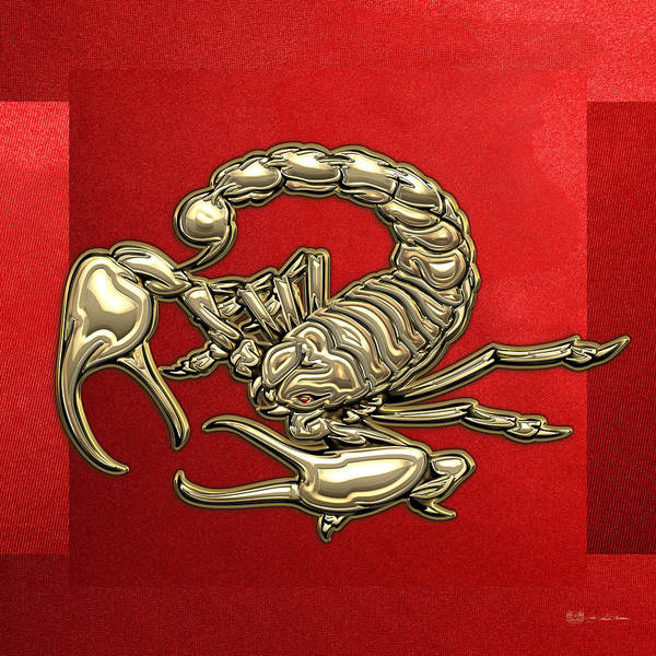 Digital Art - Sacred Golden Scorpion On Red Canvas by Serge Averbukh