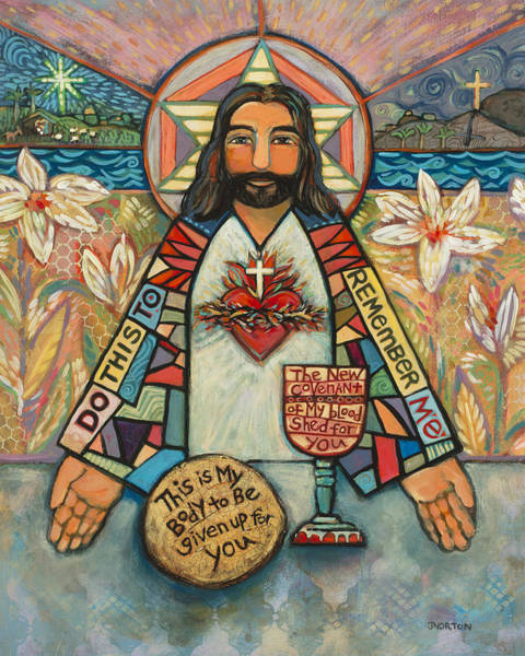 Worship Wall Art - Painting - Sacred Heart Of Jesus by Jen Norton