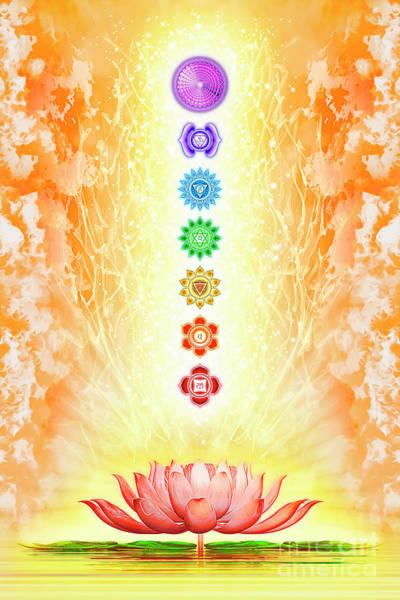 Sacred Mixed Media - Sacred Lotus - The Seven Chakras by Dirk Czarnota