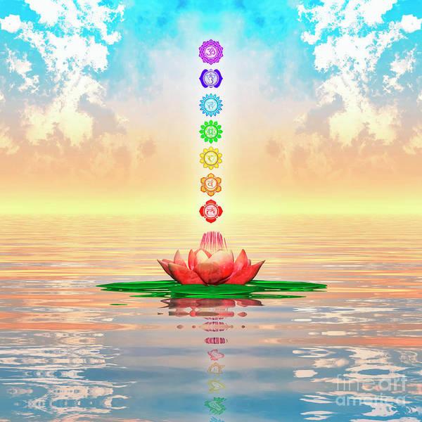 Wall Art - Digital Art - Sacred Lotus - The Seven Chakras First Edition by Dirk Czarnota