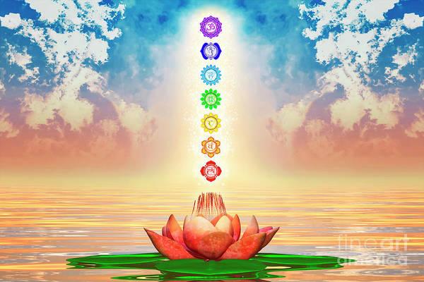 Wall Art - Digital Art - Sacred Lotus - The Seven Chakras First Edition I.i by Dirk Czarnota