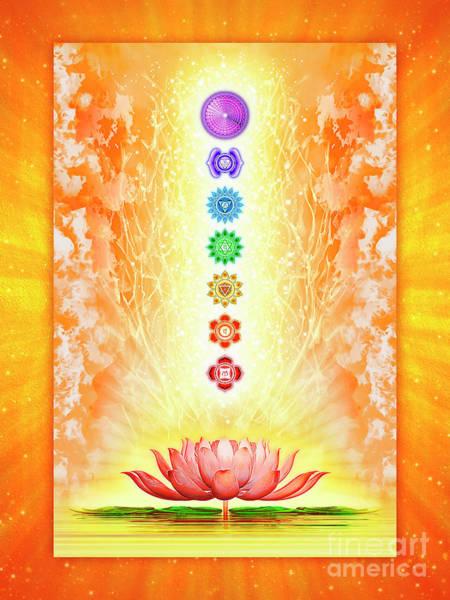 Wall Art - Digital Art - Sacred Lotus - The Seven Chakras .i by Dirk Czarnota