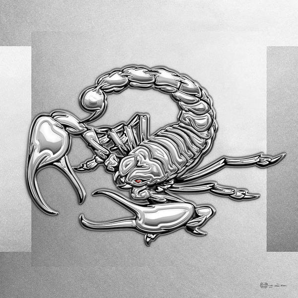 Digital Art - Sacred Silver Scorpion On White Canvas by Serge Averbukh