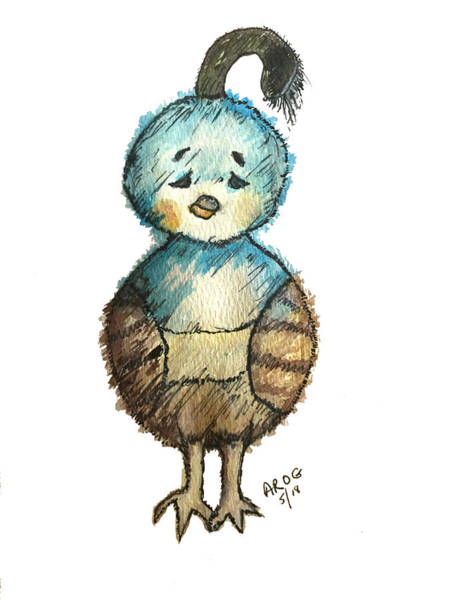 Painting -  Baby Quail by Aingeal Rose
