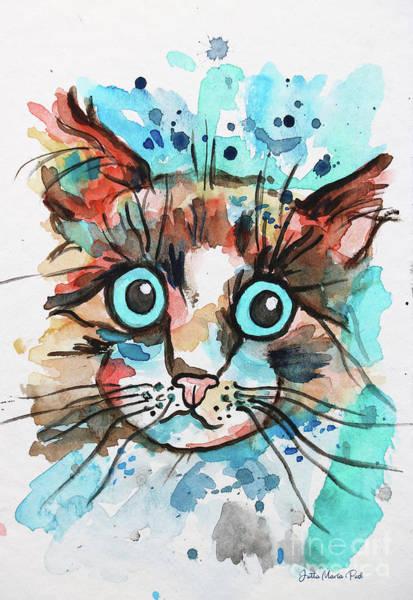 Wall Art - Painting - Sad Cat by Jutta Maria Pusl