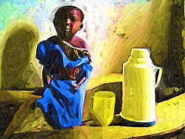 Uganda Painting - Sad Cate by Deborah Selib-Haig DMacq