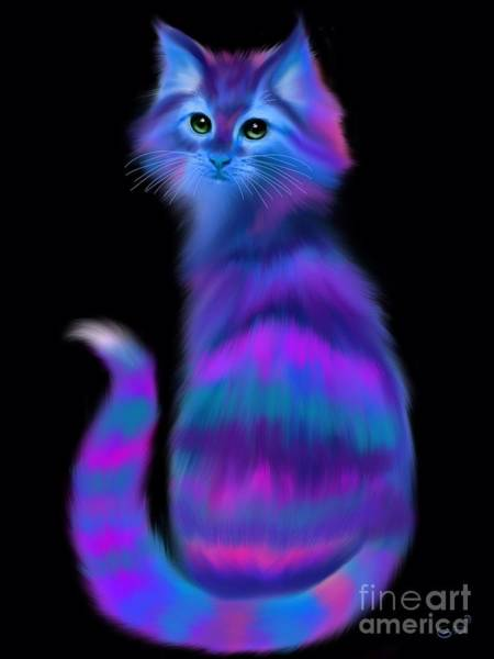 Wall Art - Painting - Sad Eyed Colorful Cat by Nick Gustafson