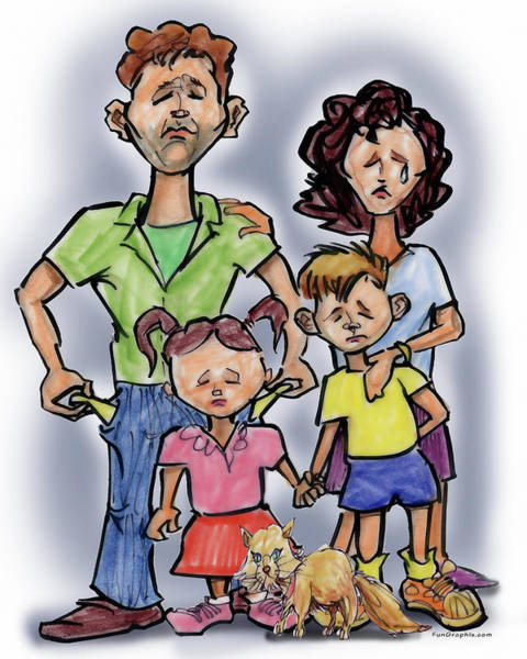 Digital Art - Sad Family Illustration by Kevin Middleton