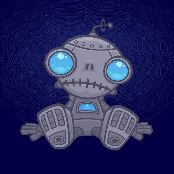 Sad Digital Art - Sad Robot by John Schwegel