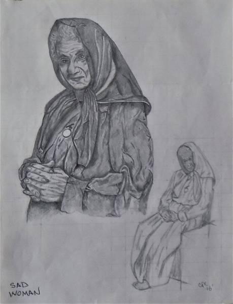 Drawing - Sad Woman by Chuck Caputo