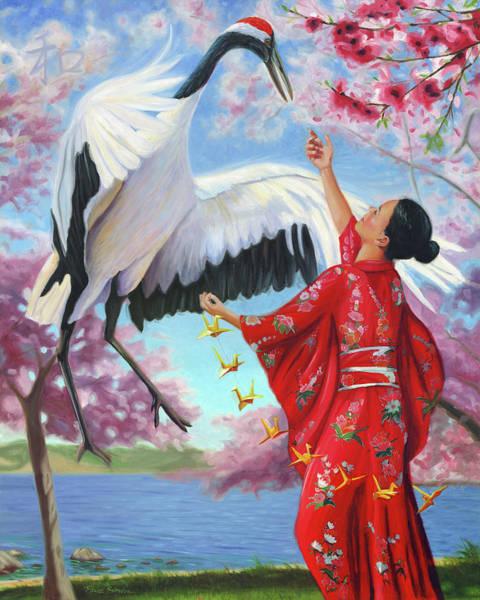Origami Painting - Sadako Sasaki by Steve Simon
