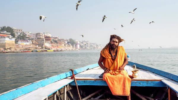 Photograph - Sadhu In A Boat. by Usha Peddamatham