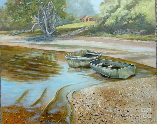 Painting - Safe Mooring  by Val Stokes