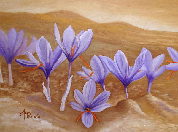Painting - Saffron Flowers by Angeles M Pomata