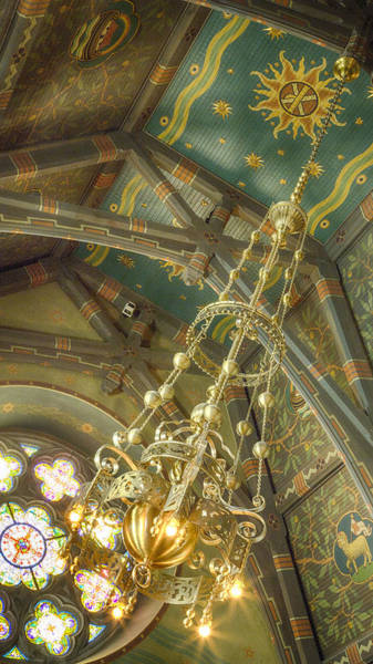 Big Red Photograph - Sage Chapel Ceiling And Light by Stephen Stookey
