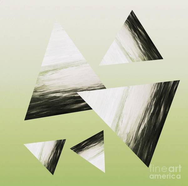 Mixed Media - Sage Triangle Abstract by Rachel Hannah