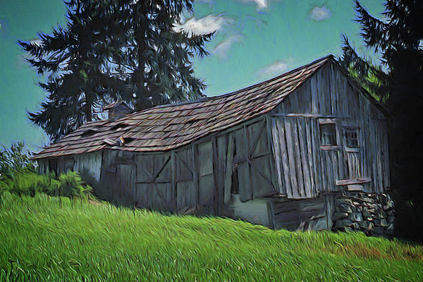 Digital Art - Sagging Old Barn by Richard Farrington