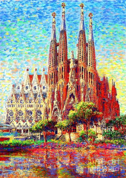 Stained Glass Wall Art - Painting - Sagrada Familia by Jane Small