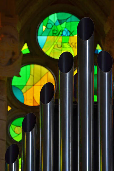 Photograph - Sagrada Familia Organ Green Stained Glass Windows by Toby McGuire