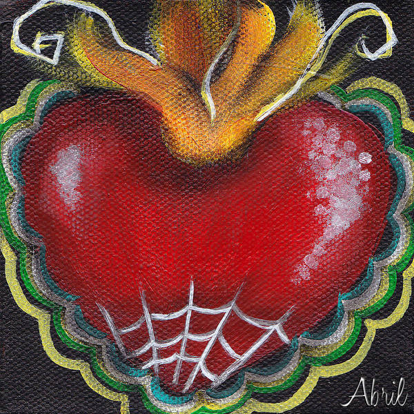 Tattoo Flash Painting - Sagrado Corazon 2 by Abril Andrade Griffith