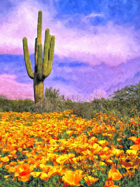 Painting - Saguaro And Poppies by Dominic Piperata