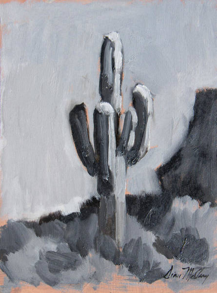 Sonoran Desert Wall Art - Painting - Saguaro Plein Air Study by Diane McClary