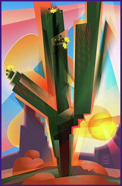Desert Flowers Wall Art - Digital Art - Saguaro Sunrise by Garth Glazier